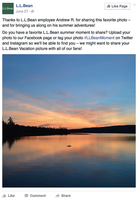 ll bean facebook post