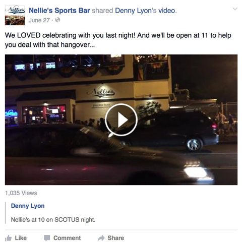 nellies sports bar facebook post