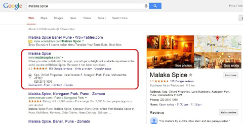 google+ listing in search results