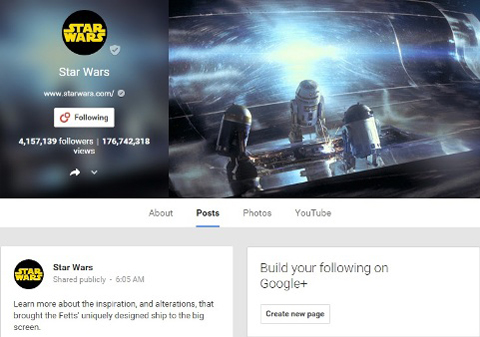 google+ star wars community
