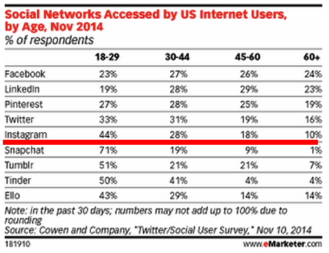 social network accessed by US users by age emarketer 2014