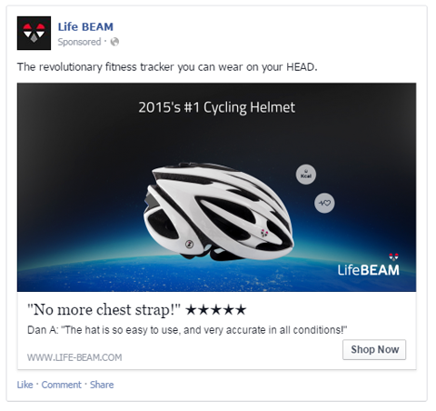 lifebeam facebook ad with user review