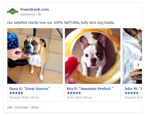 pawstruck add with user generated images and reviews