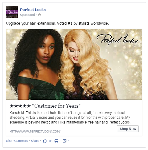 perfect locks facebook ad with user review