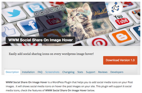 wwm social share on image hover plugin screenshot