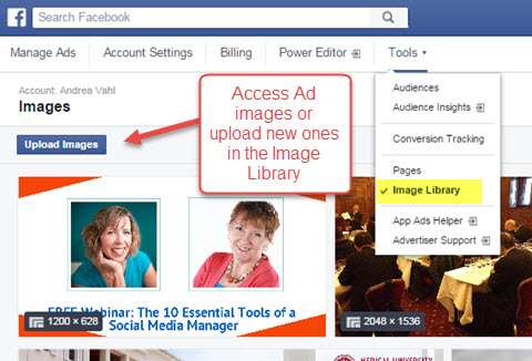 facebook ads manager image library access