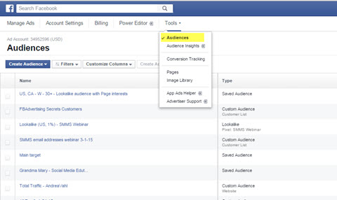 facebook ads manager audience feature