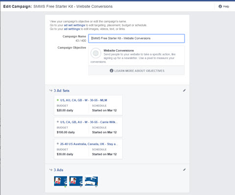 facebook ads manager bulk edit