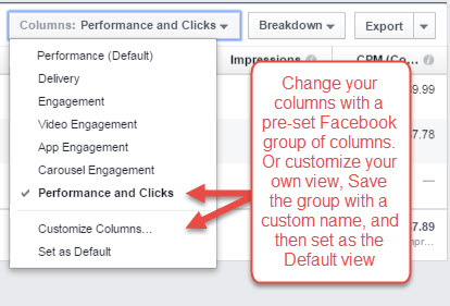 facebook ads manager customized columns