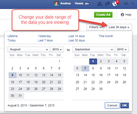 facebook ads manager report date range
