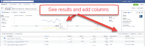 facebook ads manager graph results