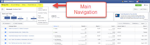 facebook ads manager main navigation