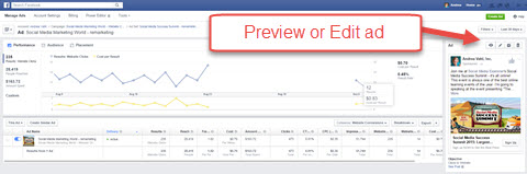 facebook ads manager preview or edit ad feature