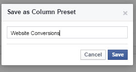 facebook ads manager save column preset