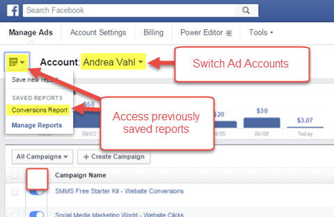 facebook ads manager saved reports