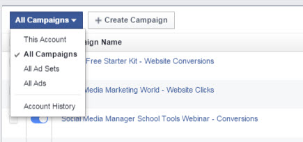 facebook ads manager ad set reports