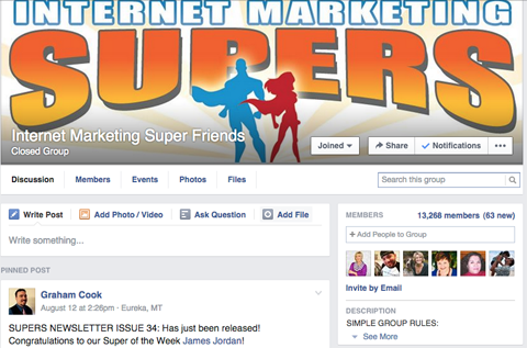 internet marketing super friends facebook group