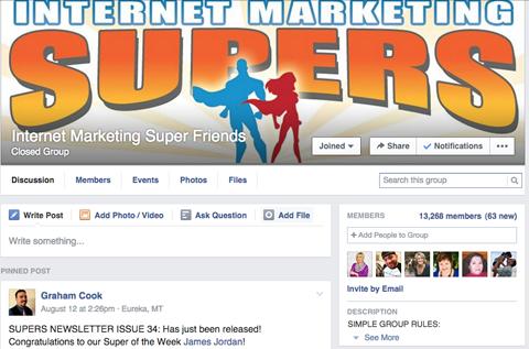 internet marketing super friends facebook group
