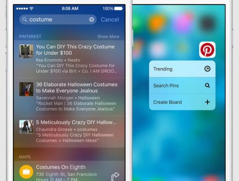 pinterest search on ios
