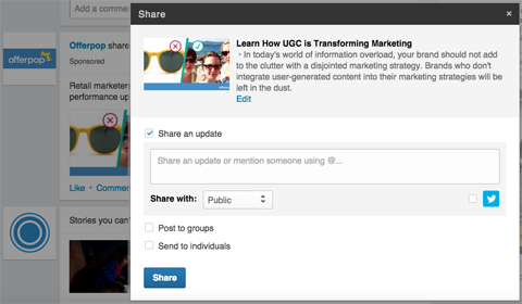 company content share linkedin