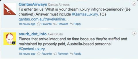 qantas hashtag response