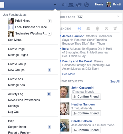 facebook pages management menu arrow