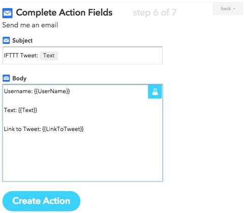 ifttt action configuration