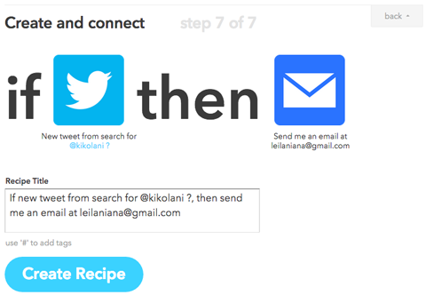 ifttt recipe setup conclusion