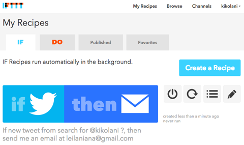 ifttt recipe in saved recipes