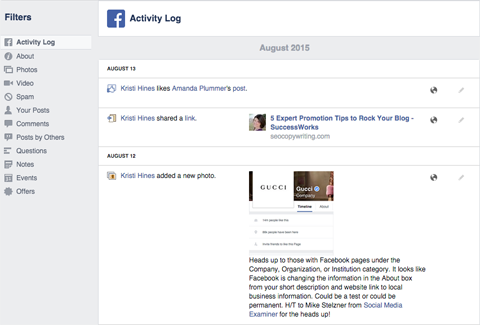 facebook page activity log