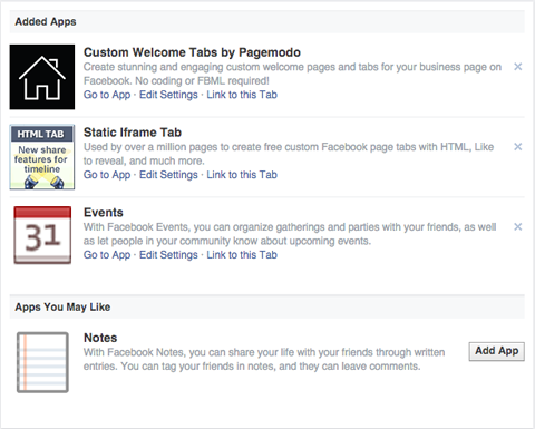 facebook page app settings