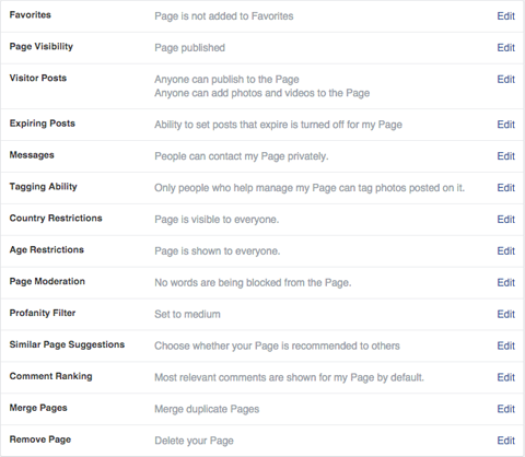 facebook pages general settings