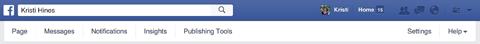 facebook pages menu