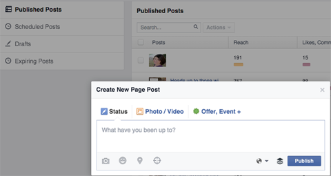 facebook pages published posts new post