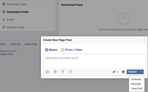 facebook pages scheduled posts new post