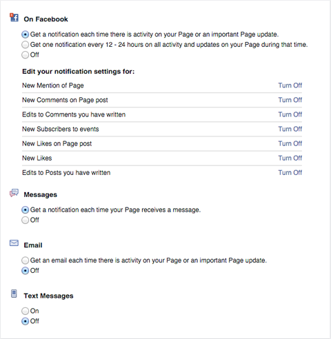facebook page page notifications settings