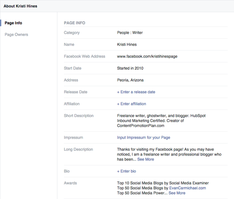 facebook pages info settings