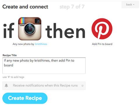 pinterest recipe ifttt