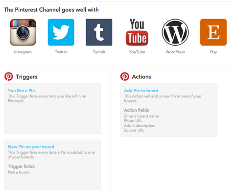 pinterest channel triggers on ifttt