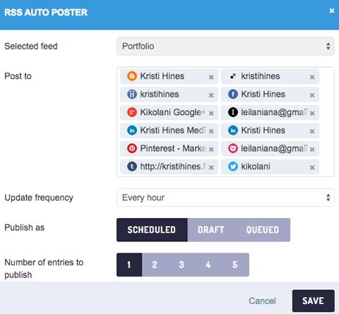 sendible auto post feature