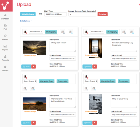 selecting pinterest images from feed sources on viraltag
