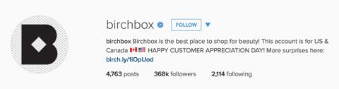 birchbox instagram profile bio