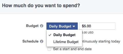 facebook ads budget options