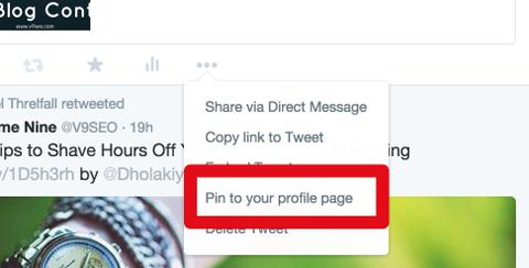 pin a tweet feature menu