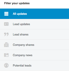 linkedin sales navigator lead update filters