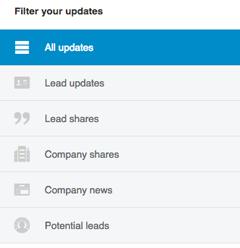 linkedin sales navigator lead update filters