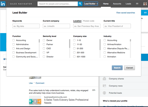 linkedin sales navigator lead builder