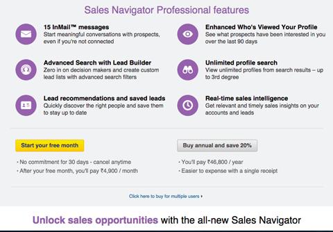 linkedin sales navigator free trial