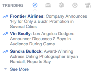 facebook trending sidebar icons