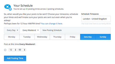 buffer weekend posting schedule